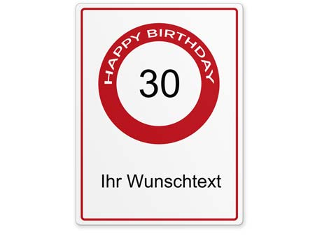 Happy-Birthday-Schild 30 Jahre