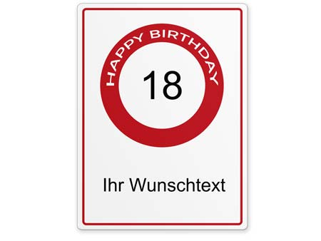 Happy-Birthday-Schild 18 Jahre
