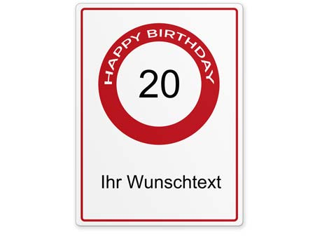 Happy-Birthday-Schild 20 Jahre