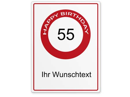 Happy-Birthday-Schild 55 Jahre