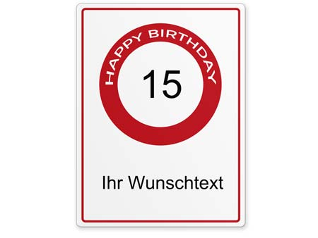 Happy-Birthday-Schild 15 Jahre