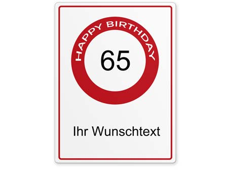 Happy-Birthday-Schild 65 Jahre